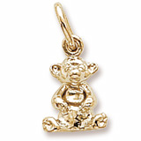 Gold Plate Sitting Bear Accent Charm by Rembrandt Charms