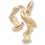 Gold Plate Stork Charm by Rembrandt Charms