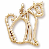 10K Gold Flat Sitting Cat Charm by Rembrandt Charms