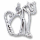 Sterling Silver Flat Sitting Cat Charm by Rembrandt Charms