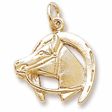 14K Gold Horse Head with Horseshoe Charm by Rembrandt Charms