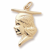 14k Gold Female Graduate Head Charm by Rembrandt Charms
