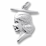 14k White Gold Female Graduate Head Charm by Rembrandt Charms
