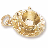 Gold Plate Cup and Saucer Charm by Rembrandt Charms