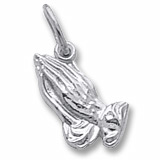 14K White Gold Small Praying Hands Charm by Rembrandt Charms