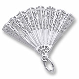 14K White Gold Hand Fan Charm by Rembrandt Charms