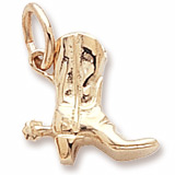 10K Gold Cowboy Boot with Spur Charm by Rembrandt Charms