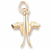 10K Gold Pair of Skis Charm by Rembrandt Charms