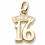 Gold Plate Sweet Sixteen Charm by Rembrandt Charms