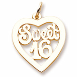 10K Gold Sweet Sixteen Open Heart Charm by Rembrandt Charms