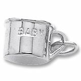 14K White Gold Inscribed Baby Cup Charm by Rembrandt Charms