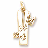 10K Gold Flat Skis Charm by Rembrandt Charms