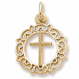 10K Gold Cross with Ornate Border Charm by Rembrandt Charms
