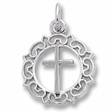 14K White Gold Cross with Ornate Border Charm by Rembrandt Charms