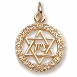Gold Plate Star of David Wreath Charm by Rembrandt Charms