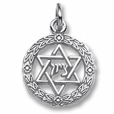 14K White Gold Star of David Wreath Charm by Rembrandt Charms