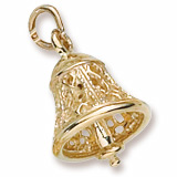 Gold Plate Filigree Bell Charm by Rembrandt Charms