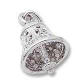 14K White Gold Filigree Bell Charm by Rembrandt Charms