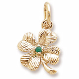 Gold Plate 4 Leaf Clover Bead Accent Charm by Rembrandt Charms