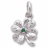 14K White Gold 4 Leaf Clover Bead Accent Charm by Rembrandt Charms