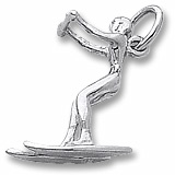 14K White Gold Water Skier Charm by Rembrandt Charms