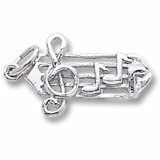 14K White Gold Small Music Staff Charm by Rembrandt Charms