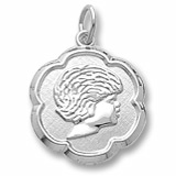 Sterling Silver Girls Head Scalloped Disc Charm by Rembrandt Charms