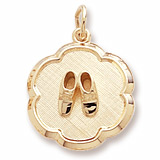 Gold Plate Baby Booties Scalloped Charm by Rembrandt Charms