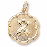 Gold Plate Bowling Scalloped Disc Charm by Rembrandt Charms