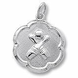 14K White Gold Bowling Scalloped Disc Charm by Rembrandt Charms