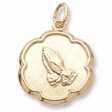 14K Gold Praying Hands Scalloped Charm by Rembrandt Charms