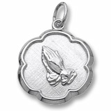 14K White Gold Praying Hands Scalloped Charm by Rembrandt Charms