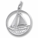 Sterling Silver Sailboat in Circle Charm by Rembrandt Charms