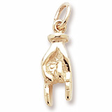 Gold Plate Good Luck Hand Charm by Rembrandt Charms