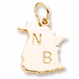 10K Gold New Brunswick Map Charm by Rembrandt Charms