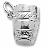 14K White Gold Bongo Drum Charm by Rembrandt Charms