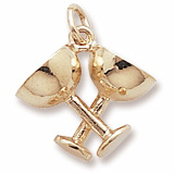 10K Gold Champagne Glasses Charm by Rembrandt Charms