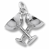 14K White Gold Champagne Glasses Charm by Rembrandt Charms