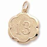 10K Gold Number Thirteen Scalloped Charm by Rembrandt Charms