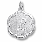 Sterling Silver Number Eighteen Scalloped Charm by Rembrandt Charms