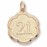Gold Plate Number 21 Scalloped Disc Charm by Rembrandt Charms