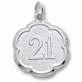 Sterling Silver Number 21 Scalloped Disc Charm by Rembrandt Charms