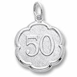 Sterling Silver Number Fifty Scalloped Charm by Rembrandt Charms