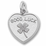 14K White Good Luck Heart Charm by Rembrandt Charms