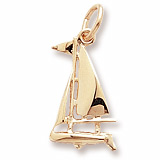 Gold Plate Small Sloop Sailboat Charm by Rembrandt Charms
