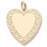 14K Gold Scrolled Classic Heart Charm by Rembrandt Charms