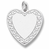 Sterling Silver Scrolled Classic Heart Charm by Rembrandt Charms