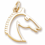 14K Gold Flat Horse Head Charm by Rembrandt Charms