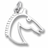 14K White Gold Flat Horse Head Charm by Rembrandt Charms