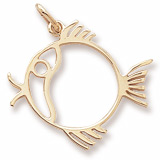 14K Gold Flat Fish Charm by Rembrandt Charms